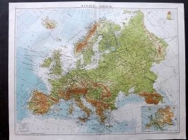 Gross 1920 Large Map. Europe - Physical